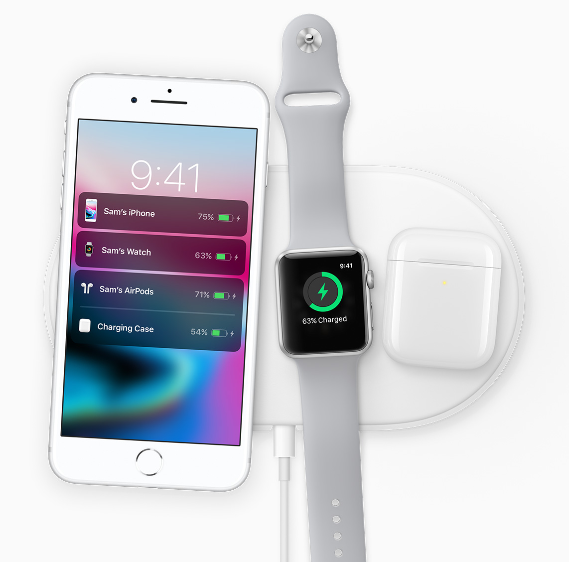 Apple products using the new wireless charging pad